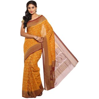 Sudarshan Silks Orange Chiffon Self Design Saree With Blouse