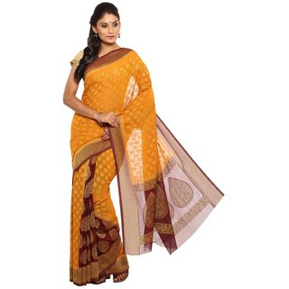 Sudarshan Silks Orange Tussar Silk Self Design Saree With Blouse