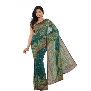 Sudarshan Silks Green Tussar Silk Self Design Saree With Blouse