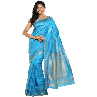 sudarshansilk Blue Tussar Silk