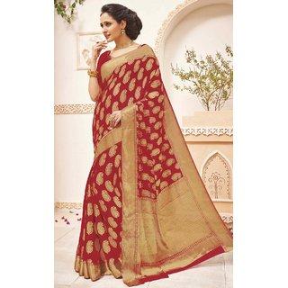 Sudarshan Silks Maroon Chiffon Self Design Saree With Blouse