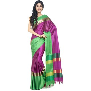 Sudarshan Silks Purple Cotton Self Design Saree With Blouse