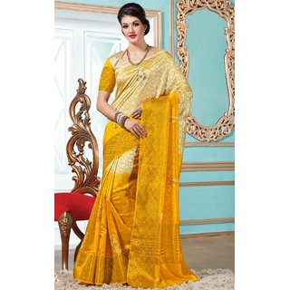 Sudarshan Silks Yellow Georgette Self Design Saree With Blouse