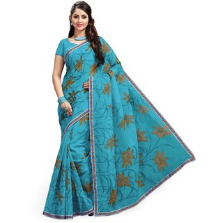 Sudarshan Silks Blue Net Self Design Saree With Blouse