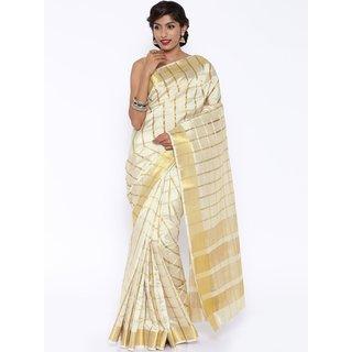 Sudarshan Silks Cream Raw Silk Self Design Saree With Blouse