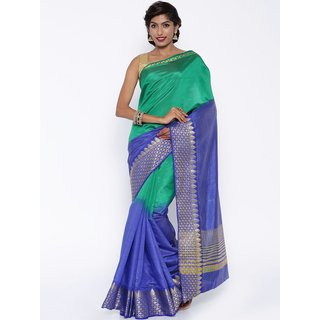 Sudarshan Silks Multicolor Raw Silk Self Design Saree With Blouse