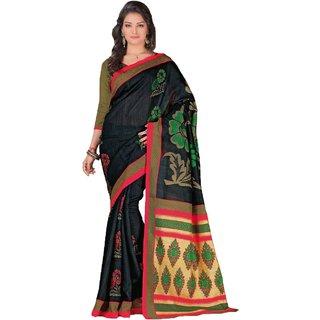 Sudarshan Silks Black Cotton Self Design Saree With Blouse