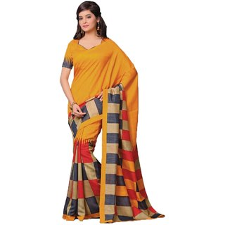 Sudarshan Silks Yellow Cotton Self Design Saree With Blouse