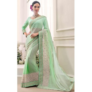 Sudarshan Silks Multicolor Georgette Self Design Saree With Blouse