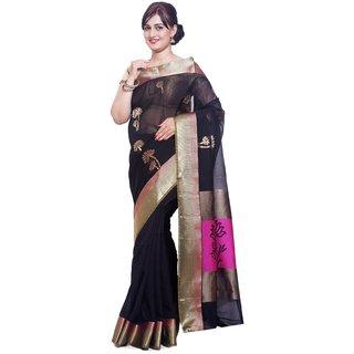 Sudarshan Silks Black Silk Self Design Saree With Blouse