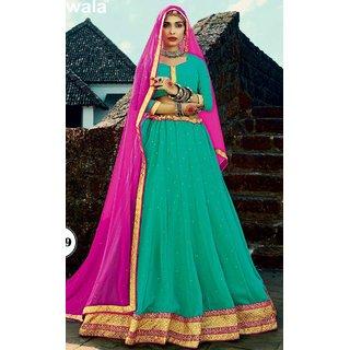 Sudarshan Silks Blue Net Self Design Saree With Blouse