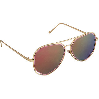 6by6 Golden And Pink Aviator Unisex Sunglasses