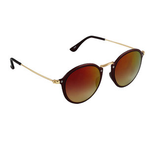 6by6 Maroon And Golden Round Unisex Sunglasses
