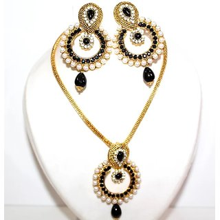 Vinayaka Set (Black) Alloy Studded Pendant Set