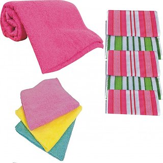 Combo Of 1 Bath Towel + 5 Face Towel + 5 Hand Towel