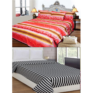 8227f5d956 JBG Home Store Combo of Cotton Double Bedsheet with 2 Pillow Covers and  Double AC Blanket