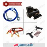 Combo Of Steel Tow Cable, 12V Electric Air Compressor Pump, Jumper Cable, Puncture Kit