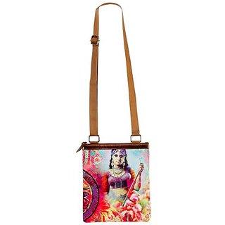 Nirvanaland Women's Canvas Lady Portrait Printed Sling Bag - MultiColor