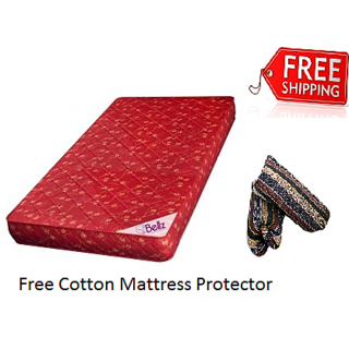 bellz single foam mattress 3'' with Zipped mutlicolour cotton mattress protectors