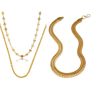 Dipali Combo Of Three Gold Plated Alloy Chain