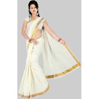 Pavecha's White Cotton Floral Saree With Blouse