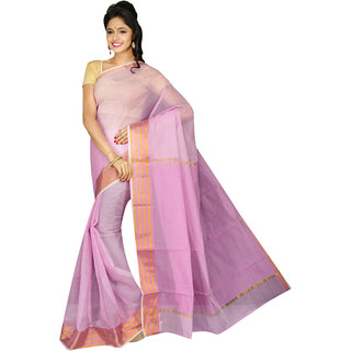 Pavechas Pink Silk Plain Saree With Blouse