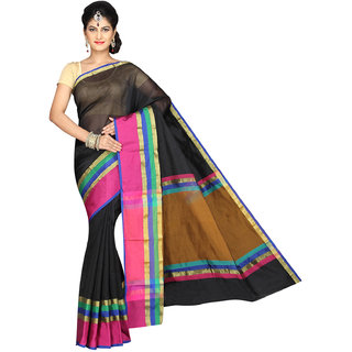 Pavechas Black Silk Plain Saree With Blouse