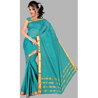 Pavechas Turquoise Cotton Plain Saree With Blouse
