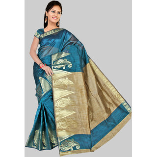 Pavecha's Turquoise Cotton Floral Saree With Blouse
