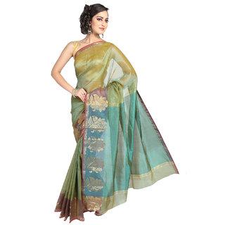 Pavecha's Green Silk Plain Saree With Blouse