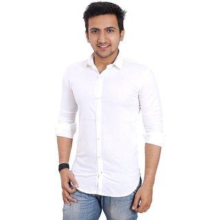 Mens World White Cotton Slim Fit Shirt
