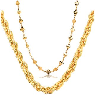 Dipali Combo Of Two Gold Plated Alloy Chain for Men