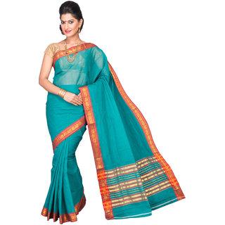 Pavecha's Blue Cotton Plain Saree With Blouse