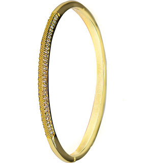 Glitters 22 Ct Gold Plated CZ Bangle Kada for Women