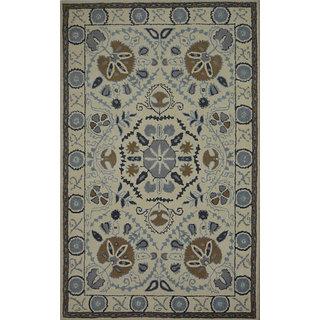 Rugs N More hand tufted beige multi 5ft x 8ft carpet