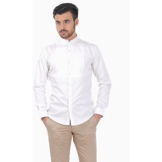 Basics Slim Fit Pearl Dobby Weave Party Wear Shirt With StandUp Mandarin Collar And Bib