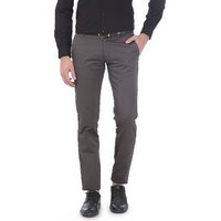 Basics Tapered Fit Mid Grey Satin Trousers
