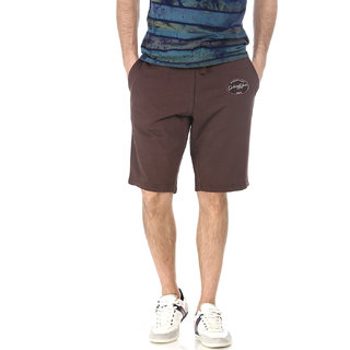 Basics Casual Plain Brown 100% Cotton Knee Length Knit Shorts