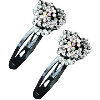 Glitters Silver Colour American Diamond Hair Clip - 2 Pcs.