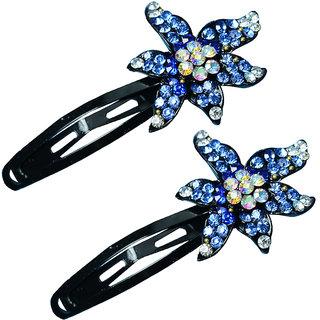 Glitters Blue Colour American Diamond Hair Clip - 2 Pcs.