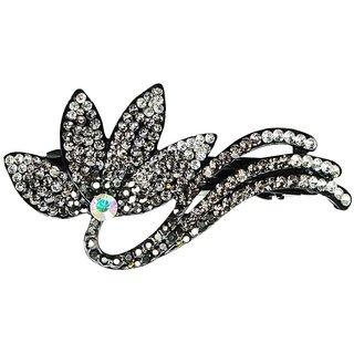 Glitters Blackish Silver Colour American Diamond Hair Clip