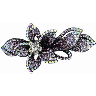 Glitters Purple Colour American Diamond Hair Clip