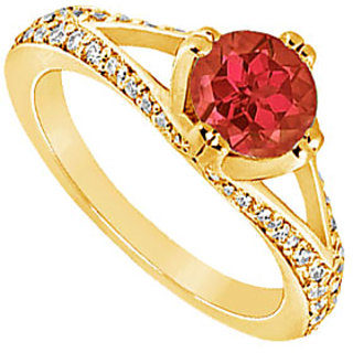 Lovely Ruby And Diamond Engagement Ring In 14K Yellow Gold