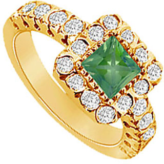 Appealing Emerald And Diamond Engagement Ring In 14K Yellow Gold