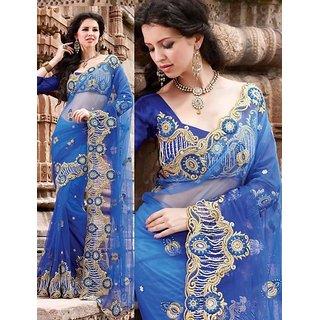 Blue Marriage Wear Saree