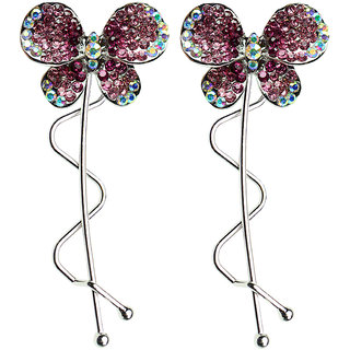 Glitters Pink Colour American Diamond Hair Pin - 2 Pcs.