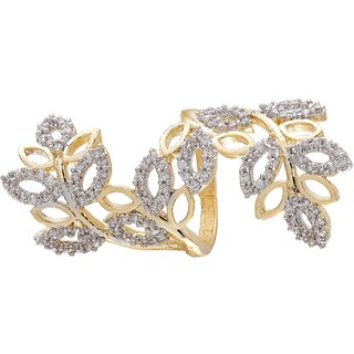 9Blings Bollywood Colletion American Diamond Gold Adjusatble Finger Ring