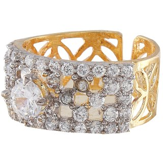 9Blings Ethnic Design Filigree Work American Diamond Adjusatble Finger Ring