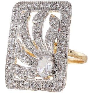 9Blings Classy Design American Diamond Gold Adjusatble Finger Ring