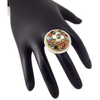 9Blings Navratna Style Kundan Multicolour Gold Plated Copper Adjustable Finger Ring
